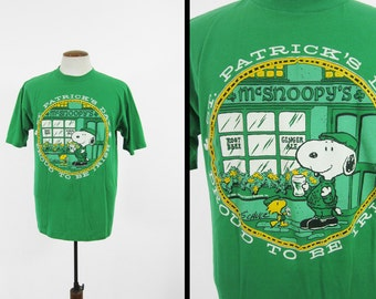 Vintage Snoopy St Patrick's Day T-shirt McSnoopy's Green 80s Joe Cool - Large