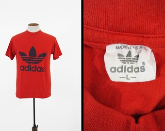 Vintage 80s Adidas Trefoil T-shirt Red and Black 5050 Made in USA - Medium