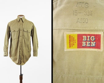 Vintage Big Ben Work Shirt Sanforized Khaki Twill Long Sleeve - Size Medium 15