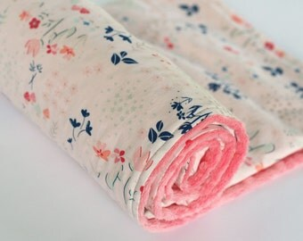 Girl Baby Blanket, Baby Girl Blanket, Coral and Navy Floral Minky Baby Blanket, Nursery Bedding, Baby Shower Gift, Library Gardens Pink Navy