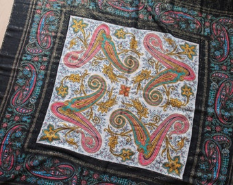 Black Vintage Scarf with Paisley Print and Lurex