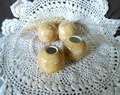 4 Lg Glazed Ceramic Macrame Beads-Round Shaped-Handcrafted-Lt Brown-Peppered Rum Blend-RB11