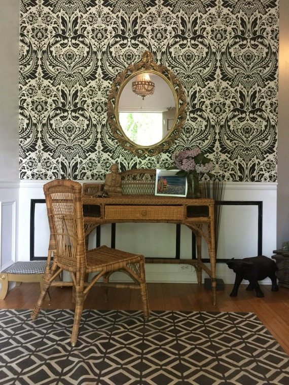 Wicker desk and chair Bohemian glam