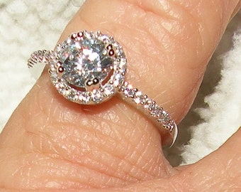 White Sapphire and Lab Diamonds Engagement Ring