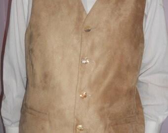 Beige men's vest, ligth beige suede fabric mens vest, size XXL formal mens vest, ready to ship