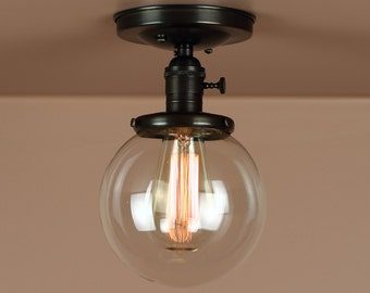Semi Flush Light w/ 6 inch Clear  Glass Globe - Oil Rubbed Bronze - Lighting for Low Ceilings - Downrod Option
