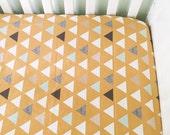 Fitted Crib Sheet Mod Mustard Triangles- Triangle Crib Sheet- Mustard Crib Sheet- Mustard Baby Bedding- Organic Crib Sheet- Minky Crib Sheet