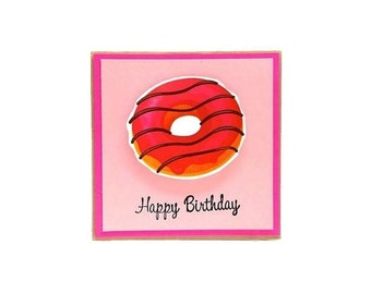 Happy Birthday Card -  Strawberry Donut card - Funny Birthday Card with brown kraft envelope