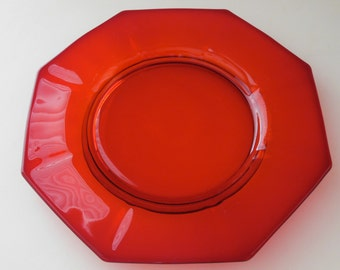 1 Ruby Red Octagon Plate- Ruby Glass Luncheon Plate Red Glass Serving plate Glass Dinnerware Dessert Plate Glass Candle Holder