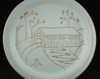 "Vintage Martz Marshall Studios ""Covered Bridge"" 11"" Plate - M146-28"