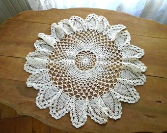 White Hand Made Lace Doily / Intricate Lace Doily / Vintage Cotton Lace / Bridal Shower Gift / Wedding Lace Doily / Victorian Lace / Shabby
