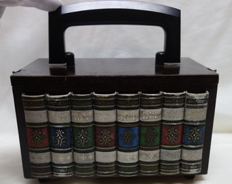 70s Wooden Box Book Handbag Purse