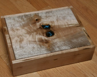 Jewelry box, heirloom, Watch watch, Valet Birds Myrtle Wood, Turquoise and Black Velvet (SB0047)