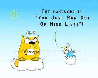 Cat and Blue bird in Paradise cartoon Mug or Print