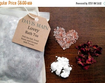 Clearance Sale Lovey Bath Tea with Roses, Pink Salt, and Coconut Milk Powder Valentine's Day