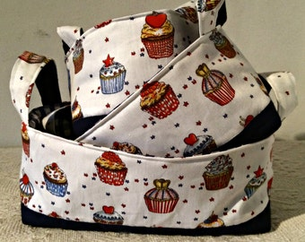 Red White and Blue Cupcake Fabric Basket - set of three nesting baskets