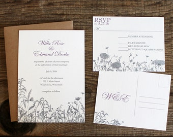floral wildflower wedding invitation set - 50 invitations and RSVP post cards postcards wedding stationery