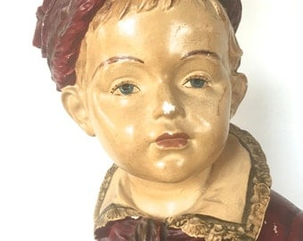 Large chalk ware bust of a boy  / table lamp
