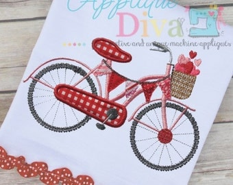 Valentine's Day Love Bike Digital Embroidery Design Machine Applique