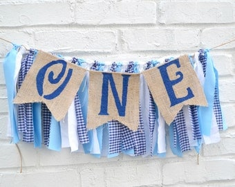 Boy ONE birthday banner - blue birthday banner - navy birthday  - boy 1st birthday party - ONE birthday decor - boy 1st birthday decor