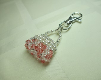 Purse Charm or Zipper Pull in Rose Peach and Clear Crystals