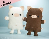 Plush Pig stuffed animal, Cute pig soft toy doll, Kawaii pig, Wildlife room decor, Handmade gift, White Pink Black Gray Brown, Flat Bonnie
