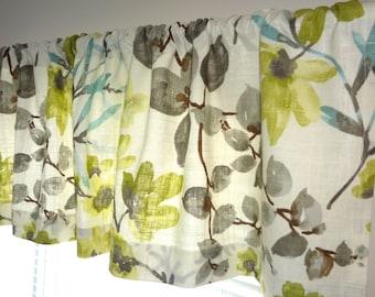 Braemore Gazebo Cloud Floral Designer Valance Blue Lime Grey Teal Floral  Valances 52x15
