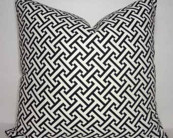 INVENTORY REDUCTION Black & White Geometric Decorative Pillow Cover Black Ikat Print Throw Pillow Cover Size 18x18