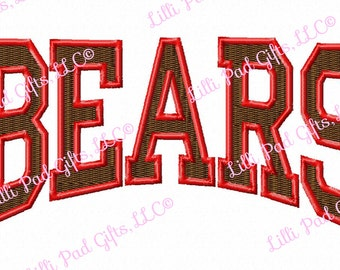 BEARS - College - Arched-Outline - Machine Embroidery Design - 9 Sizes