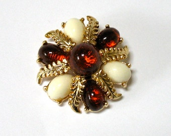 1970's large EMMONS Root Beer and Ivory Color Brooch, translucent stones, white, Excellent