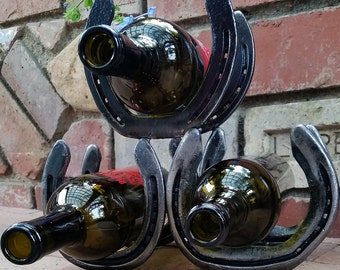 Recycled Steel Horseshoe Wine Rack #1