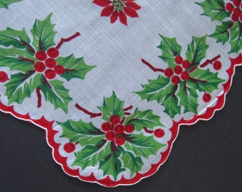 SALE - Vintage Christmas Holiday Hanky Hankie Handkerchief - Red Poinsettias Green Holly Red Berries Scalloped Edges - Collectible - Gift