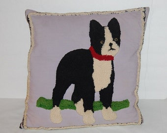 Vintage 40s Dog Pillow Rug Needle Punch Style Handmade Craft