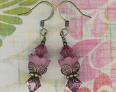 Bead Kit- Sugar Sweet Swarovski Pink Brass Flower Earrings, DIY Earring Kit, Pink Lucite Flower Earring Kit, Jewelry Maker's Gift, Pink Lily