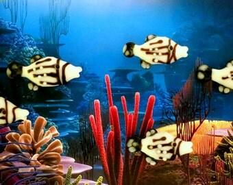"""5 Handmade Lampwork Tropical Island Fish Beads Lampwork Glass Fish 1 3/16"""""""