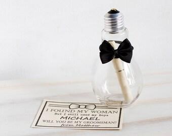 Groomsman Invitation Will You Be My Groomsman Best Man Wedding invite Man of Honor Wedding Card Custom Message in a bottle light bulb