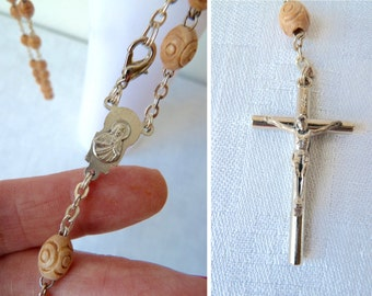 Vintage Carved Wooden Beads Rosary Beads, Religious, Jesus, Mary, Hipster, Ethnic, Hippie, Goth, Punk Statement Necklace, Piece of Jewellery
