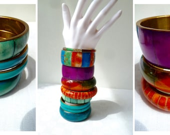 Selection of Vintage Chunky Bangles, Colourful Tinted and Dyed Bone & Brass Inlaid Ethnic Chic Bangles