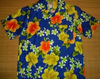 Mens Vintage 70s Hukilau Tiki Hawaiian Shirt - L - The Hana Shirt Co