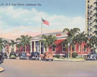 Lakeland, Florida, Post Office - Linen Postcard - Unused (Y)