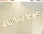 SALE 10% OFF Valentines Day! True Love Natural Cotton Cream Hearts On A String Venice Lace - Vintage Style Lace Trim / Wedding / Bridal