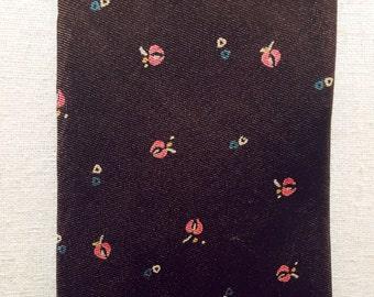 Vintage 1960s Dark Brown, Pink Flowers Pierre Cardin Silk Tie