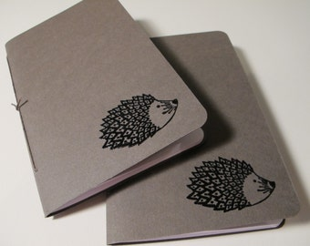 Hedgehog Pocket Notebooks: Set of Two Brown and Black Embossed Small Journals Cahier
