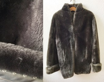 1950s Faux Fur Jacket, Grey Imitation Beaver Pelt, Super Soft, size Ladies Large, Vintage