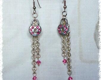 Diamante Padlock Earrings