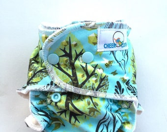 "Cheeky Cloth one size Organic Bamboo Fitted or AI2 Diaper ""Tree of Life"""