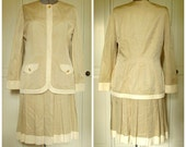 Silk Suit 2 piece dress jacket and skirt beige tan neutral silk faille pleated skirt work office vintage 80s 90s women 14 Adrianna Papell
