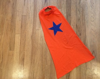 Kids Super Hero Cape - Orange Cape with Blue Star