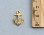 Shiny Anchor Charm, 24K Gold plated sterling silver Shiny Anchor Charm, Gold plated anchor charm, Gold anchor,Nautical Charm,17mm( 1 piece )
