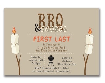 Customizable BBQ And S'mores Party Invitation [Digital File ONLY]